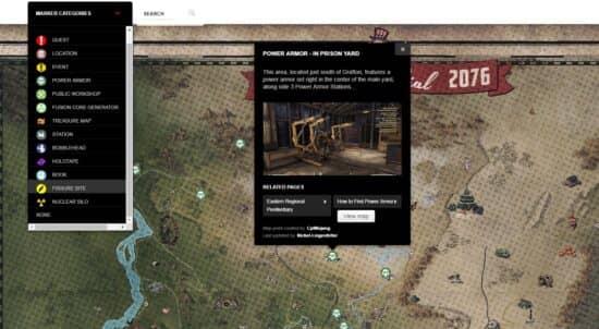 Карта мира Fallout 76: голозаписи, книги, мастерские, силовая броня и сокровища
