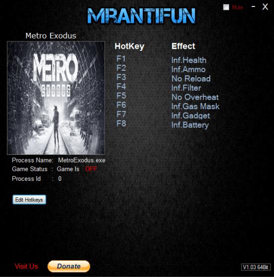 Metro Exodus: Трейнер/Trainer (+8) [1.0] {MrAntiFun}